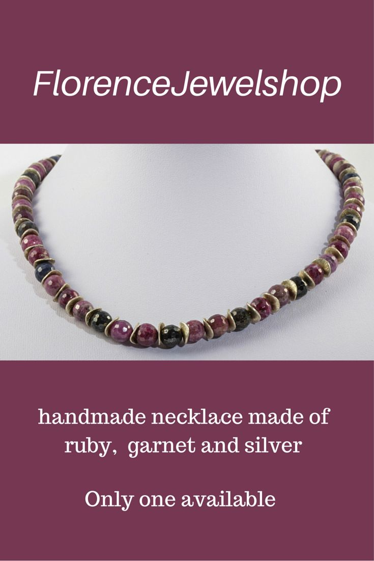 This garnet and ruby with silver necklace weighs less than 50 gram and is ideal for women with problems with their back, neck or shoulders. You can wear this necklace on any occasion and it will look great on red, black, white and dark blue clothing.  The faceted ruby and faceted garnet with the silver chips will shine lovely in every light. � 145. Learn more: https://www.etsy.com/listing/194610400/red-garnet-necklace-handmade-beaded-semi?ref=shop_home_active_2