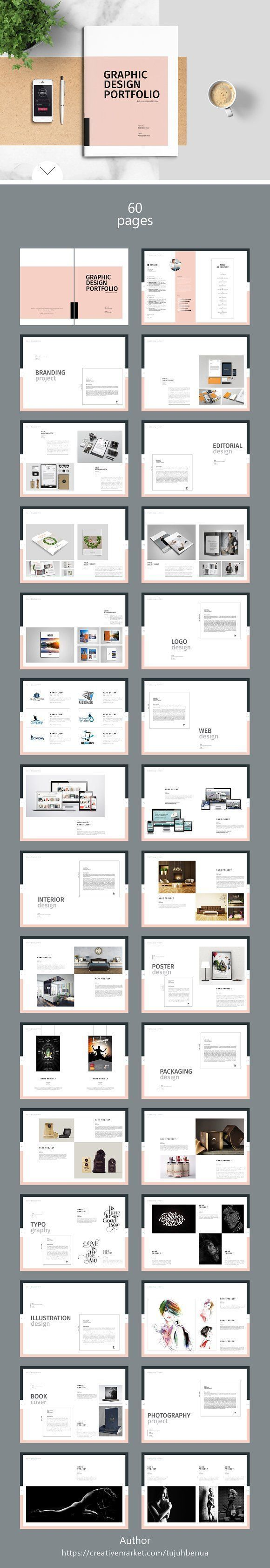 Graphic Design Portfolio Template by tujuhbenua on @creativemarket Ready for Print Magazine and Brochure template creative design and great covers, perfect for modern and stylish corporate appearance for business companies. Modern, simple, clean, minimal and feminine layout inspiration to grab some ideas.