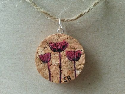 Hand drawn and painted Cork Pendant - Pink Dandelion