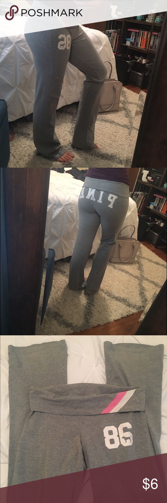 Victoria's Secret Pink Gray yoga fold pants Good condition; NO fraying at ends; stamped PINK on butt and 86 on front leg show signs of wear 😊 soft, comfy! Size XS PINK Victoria's Secret Pants Track Pants & Joggers