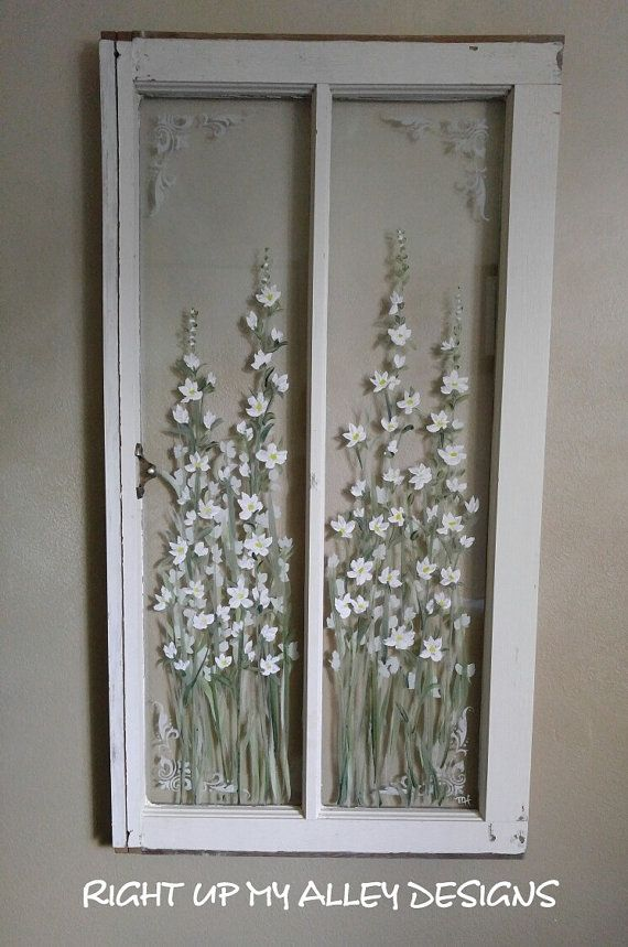 Old window frame art,painted old window,Shabby window,white flower window,White decor,farmhouse window,window and shutter,French stencil