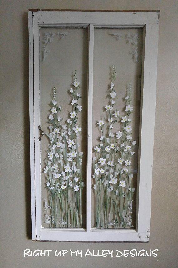 Old window frame art,painted old window,Shabby window,white flower window,White decor,farmhouse window,window and shutter,French stencil