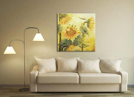 Canvas Art Sunflower Painting, Extra Large Wall #art #painting #canvasart #sunflowerpainting #extralargewallart #largepainting