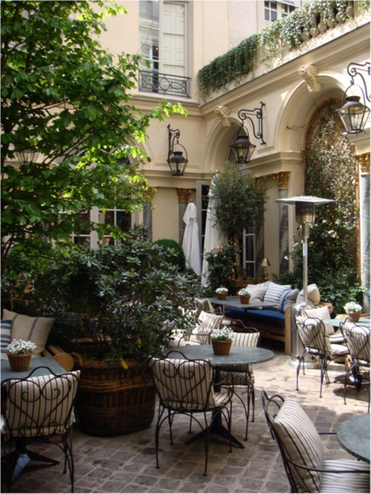 Parisian Courtyard- this looks so much like the courtyard at the hotel we stayed at in paris, our room overlooked the courtyard and it was beautiful