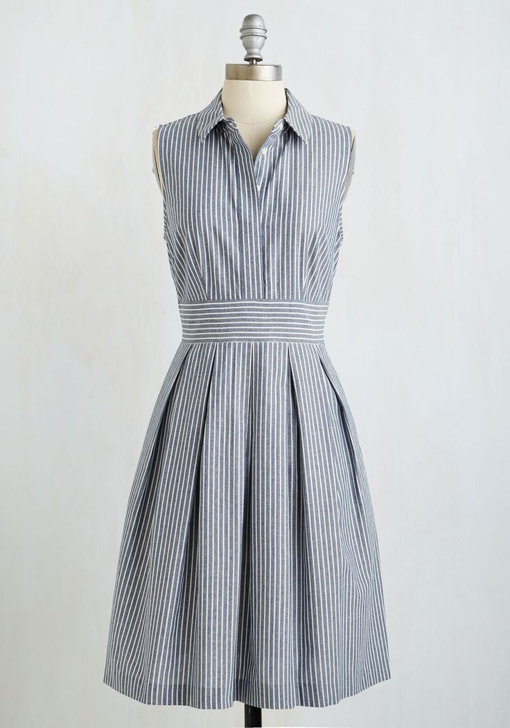 Pleat and Tidy Dress. Your fashion sense is crisp and timelessly refined, which is evident when you sport this collared A-line! #blue #modcloth