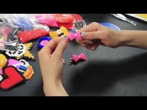 Video Tutorial Molletta per capelli Fermacapelli Hama Beads Fiocchetto Rosa Pyssla FULL HD ITA - YouTube