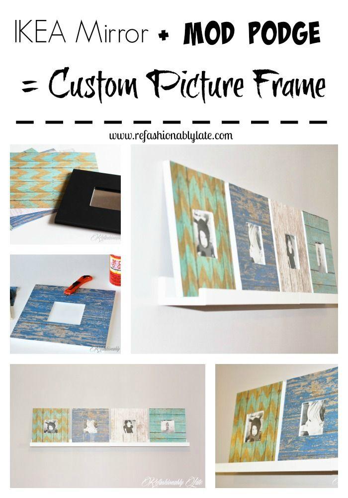 IKEA Mirror + Mod Podge = Custom Picture Frame!!  - www.refashionablylate.com