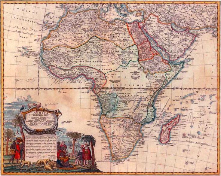 Карта Африки И.М. Хазе. 1737 г.