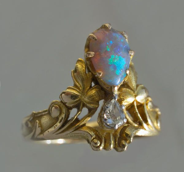 ART NOUVEAU DIADEM RING ~ Probably by Eugene Feuillatre (1870-1916). Gold, Opal and Diamond. Marks: Eagle's head & maker's mark EF & leaf. French, c.1900