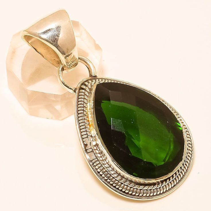 "CHROME DIOPSIDE 925 STERLING SILVER PENDANT 1.85"" in Jewellery & Watches, Fine Jewellery, Fine Necklaces & Pendants 