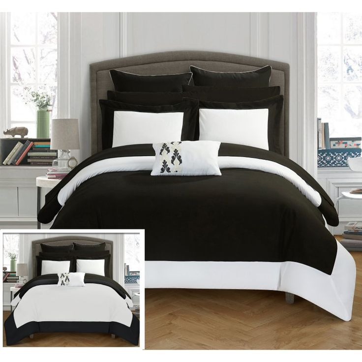 Ivanka 10-Piece Ivanka Modern Hotel Collection Bed In a Bag Reversible King Comforter Set by Chic Home Black - CS0518-HE