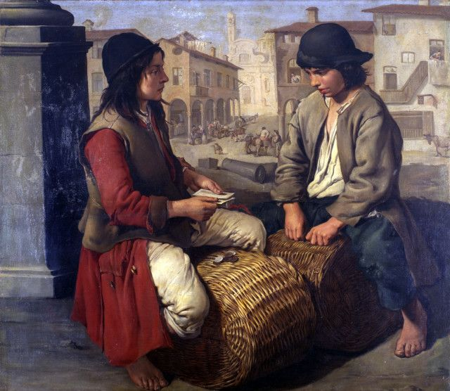 """Giacomo Ceruti, """"Two boys playing on the baskets"""", oil on canvas"""