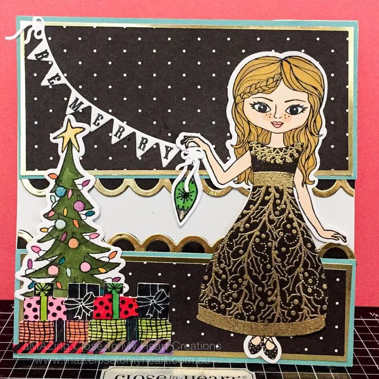 Be Merry Christmas Card using Close To My Heart Christmas Paper Doll Stamp + Thin Cuts and Beary Christmas Scrapbooking Stamp + Thin Cuts and Silver & Gold Paper Packet. #CTMH www.closetomyheart.com.au