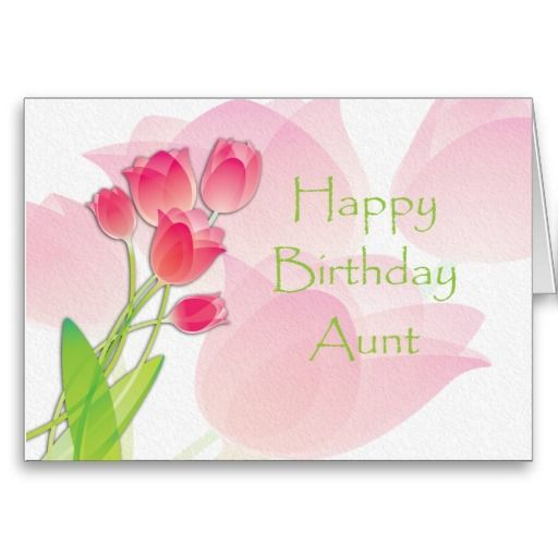 Pink Tulip Birthday Card for Aunt