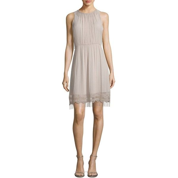 Elie Tahari Demetria Metallic Fringe Accented Roundneck Dress ($149) ❤ liked on Polyvore featuring dresses, pintucked dress, zip back dress, elie tahari dresses, scalloped edge dress and lined dress