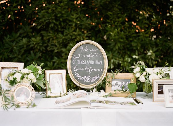 """""""We are but a reflection of those who have come before us."""" Such a lovely way to honor the happily married couples who inspire you. Photo: @chrissymcneill / Event Planning & Design: Stacy McCain Events / Floral Design: Loop Flowers / Calligraphy: BeeCurious Designs"""