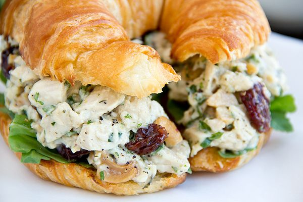 Sweetly Savory Tarragon Chicken Salad with Roasted Cashews and Dried Cherries on Toasted, Buttery Croissant