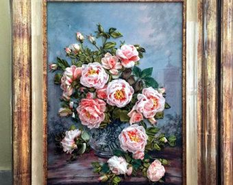 for Tatiana Embroidered picture roses  Embroidery with silk, satin  ribbons