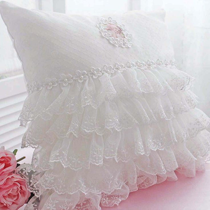 Lace Love Ruffle Cushion Cover-  Redo a pillow - rows of ruffled lace trim, start at bottom working up. add a narrow venice lace trim on top. Chose a pearl beaded lace applique.