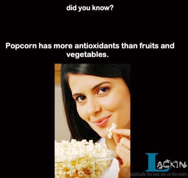 Did you know? Popcorn has more antioxidants than fruits & vegetables.