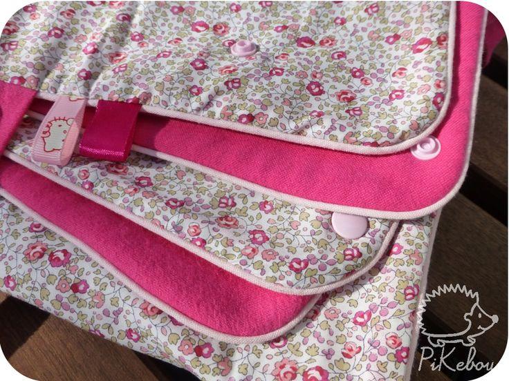 couverture pour poussette - cosi - porte-bébé en liberty Eloise rose et vert