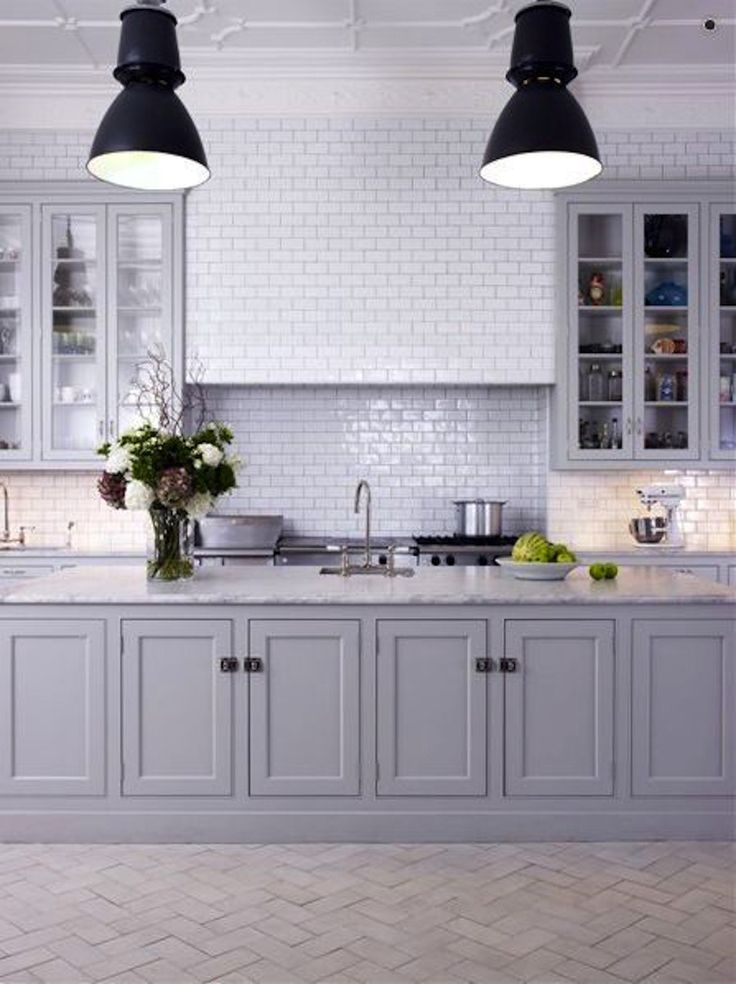 #kitchen, #backsplash, #tile, #kitchen-cabinets, #gray    View entire slideshow: 15 Stunning Gray Kitchens on http://www.stylemepretty.com/collection/277/