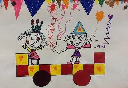 carnavalwagen 2 -d met papier en eigen tekencrratie