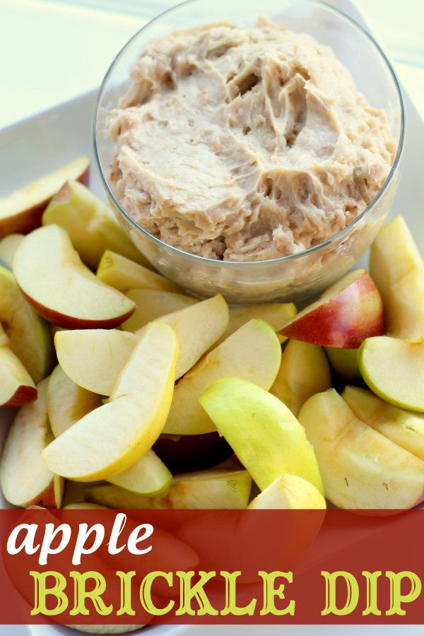 The BEST apple brickle dip ever!! Seriously, this stuff is so good and its so easy to make! { lilluna.com }