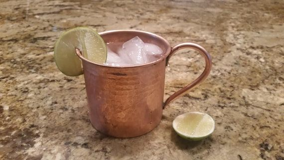 Pair of Moscow Mule Hammered Copper Mugs