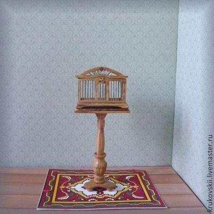 Кукольный дом ручной работы. Ярмарка Мастеров - ручная работа Миниатюрная клетка для птиц. Handmade. Miniature birdcage with stand