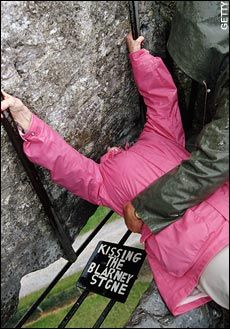 Kiss the Blarney Stone! Sounds cool but a bit yucky! How many lips have been on there???