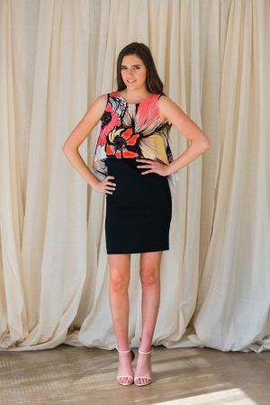 D.EXTERIOR FLOWERS DRESS WITH CORAL SILK OVERPIECE