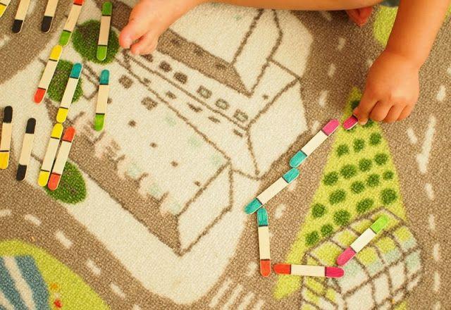 DIY toddler popsicle stick dominos craft