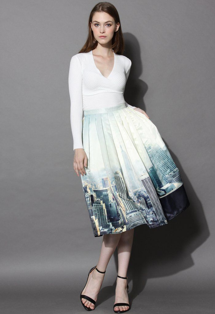 New York Skyline Printed Midi Skirt - Skirt - Bottoms - Retro, Indie and Unique Fashion