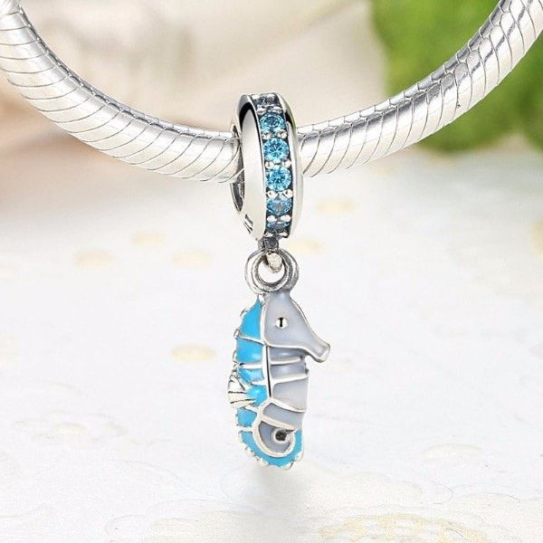 Silver Charms   Silver Blue Seahorse Charm