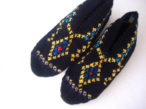 womens slippers ethnic knit slippers authentic by AnatoliaDreams