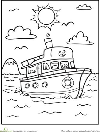 Worksheets: Boat Coloring Page