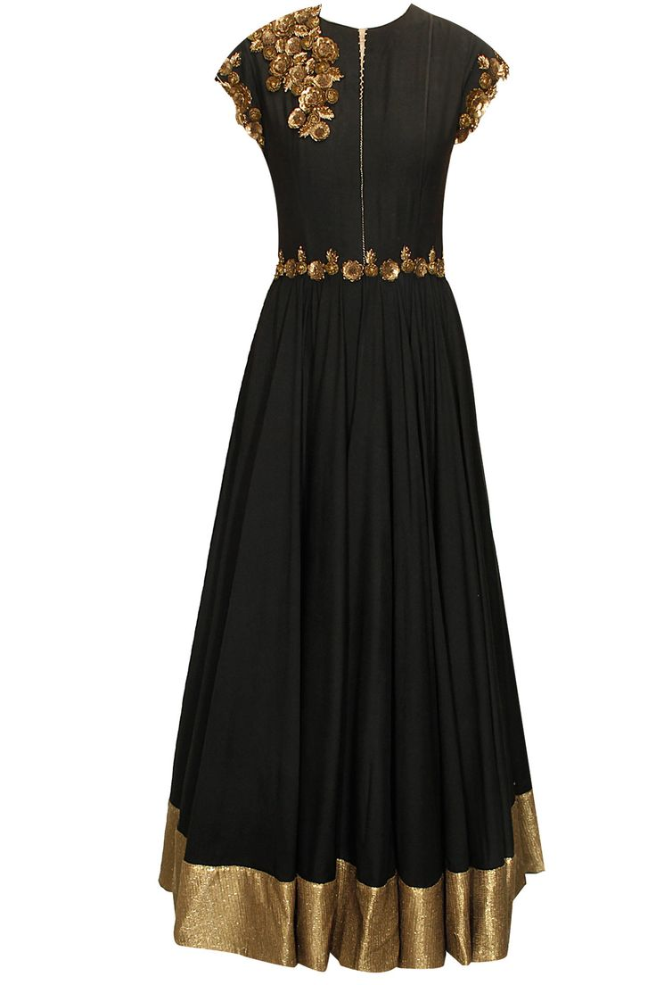 Black antique floral embroidered anarkali with black sequins net dupatta available only at Pernia's Pop-Up Shop.