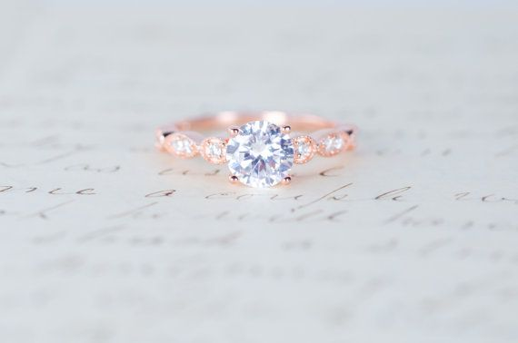 Bague de fiançailles or rose en argent Sterling par MochaRings