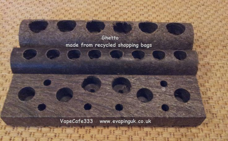 Vaping stand prototype made from recycled shopping bags for Vape craft coupon code