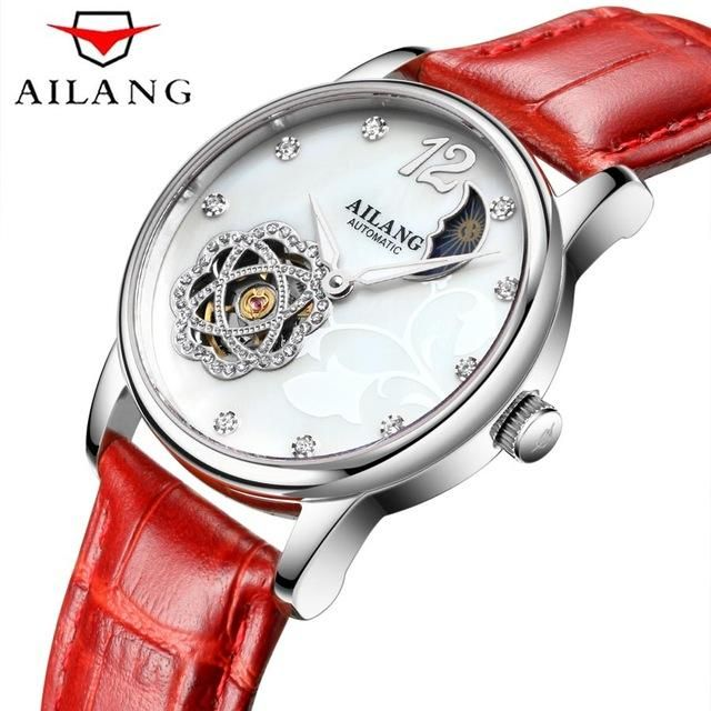 Clock Phase Moon Tourbillon Band Leather White Women Watch Mechanical Automatic Skeleton Watches