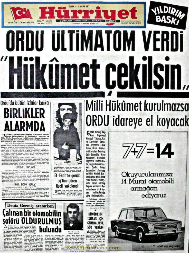 Hürriyet gazetesi 12 mart 1971