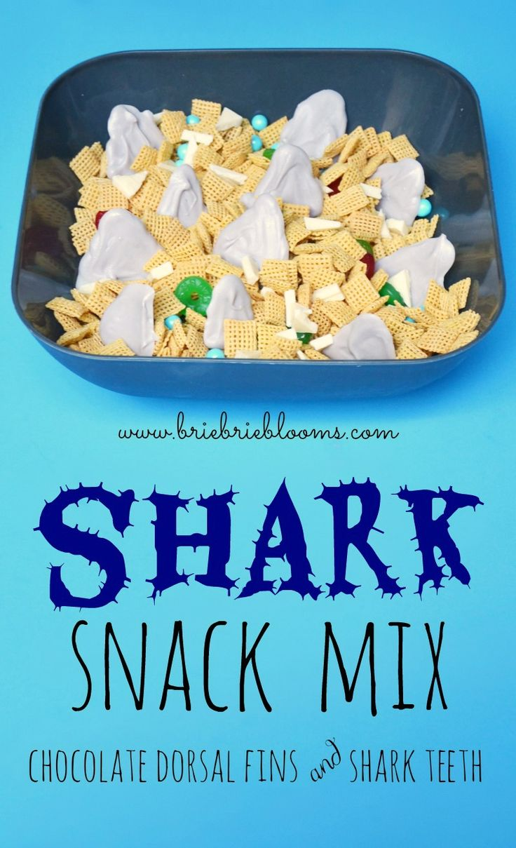 Shark Snack Mix recipe with chocolate dorsal fins and shark teeth - Brie Brie Blooms