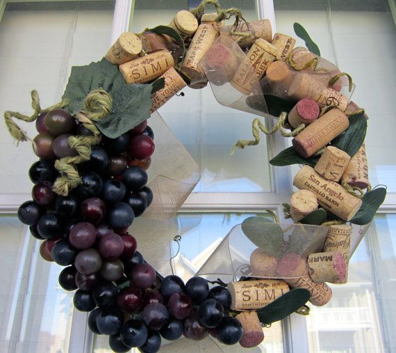 wine cork & grapes wreath