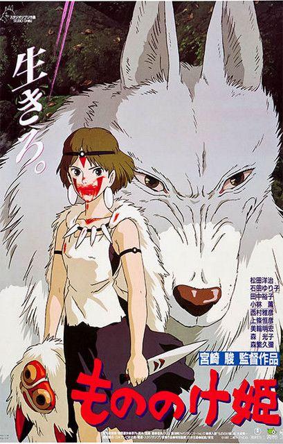 Princess Mononoke San and Wolf Miyazaki Anime Film Poster 11x17