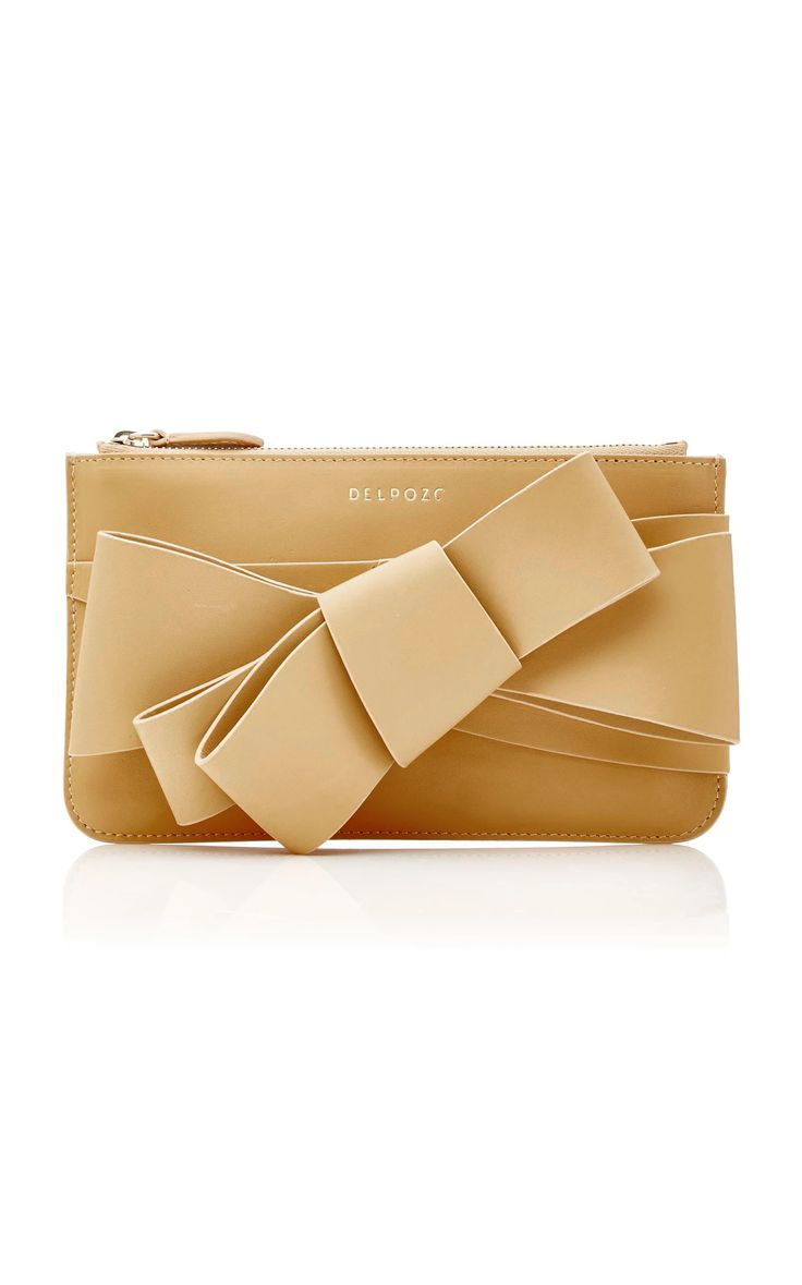 DELPOZO M'O Exclusive Polished Bow Clutch. #delpozo #bags #shoulder bags #clutch #lining #leather #hand bags #