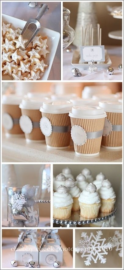 Winter Party.... Love the hot chocolate cups. Can write names on them instead of the number.