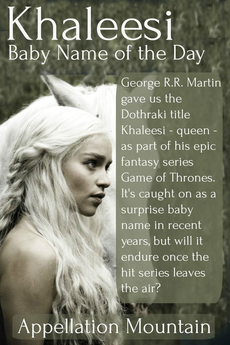 Game of Thrones baby names are trending, led by regal girl name Khaleesi. Would you consider naming your daughter after the Mother of Dragons?