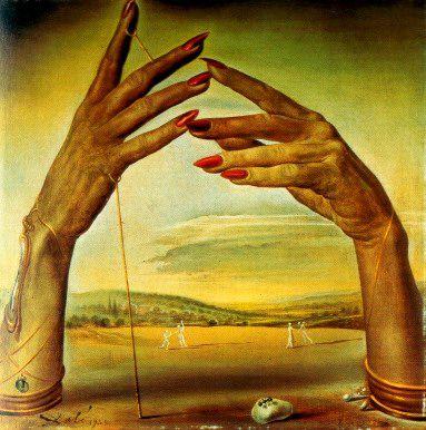 Salvador Dali portrait of a passionate woman hands