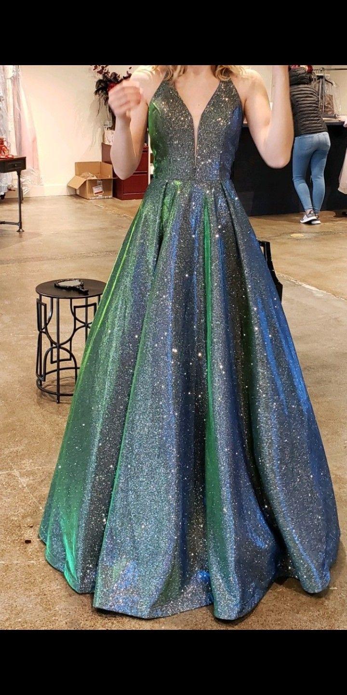 Blue Shimmery Galaxy Inspired Wedding Dress Gown Cute Prom Dresses Dresses Gowns Dresses [ 1186 x 1192 Pixel ]